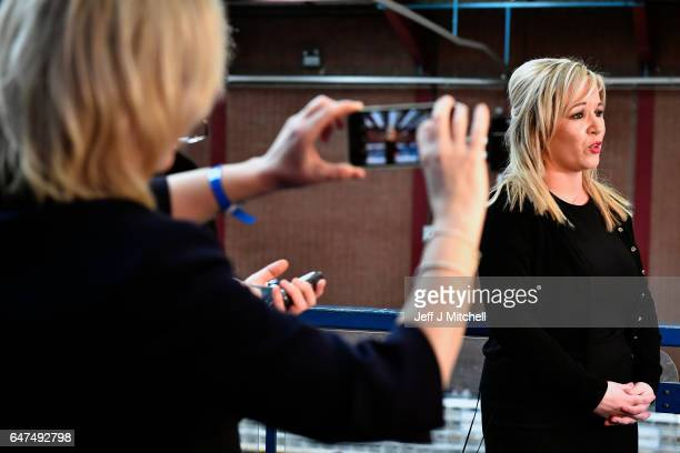 Michelle O'Neill leader of Sinn Fein in Northern Ireland gives an interview following winning her seat for Mid Ulster at Seven Towers Leisure Centre...