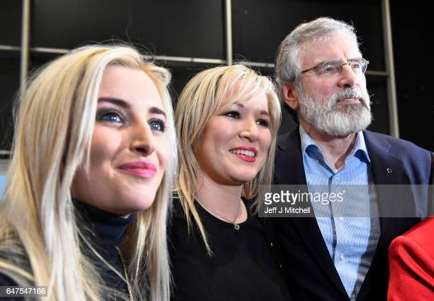 Michelle O'Neill leader of Sinn Fein in Northern Ireland is greeted by Sinn Fein president Gerry Adams and Orlaithi Flynn as she arrived at the count...