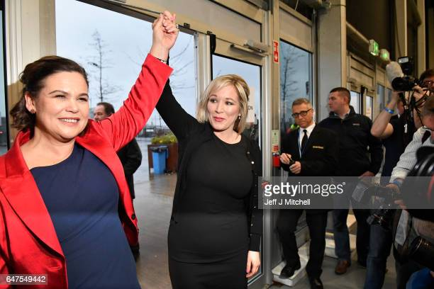 Michelle O'Neill leader of Sinn Fein in Northern Ireland is greeted by Mary Lou McDonald as she arrived at the count for the Northern Ireland...