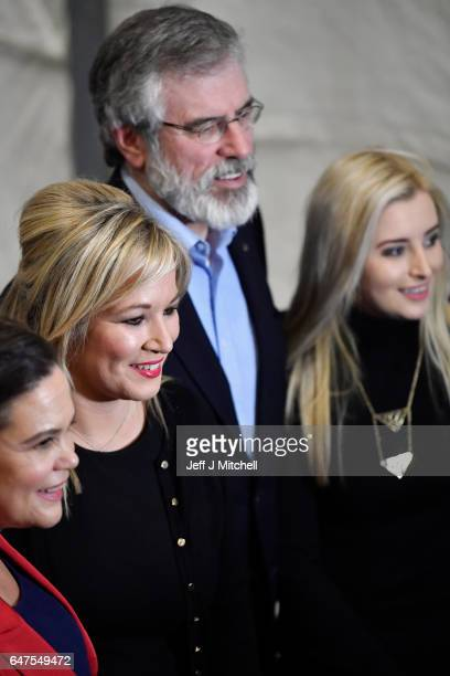 Michelle O'Neill leader of Sinn Fein in Northern Ireland is greeted by Sinn Fein president Gerry Adams Mary Lou McDonald and Orlaithi Flynn as she...