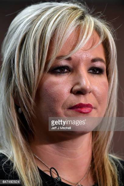Michelle O'Neill leader of Sinn Fein in Northern Ireland prepares to give an interview following winning her seat for Mid Ulster at the Seven Towers...