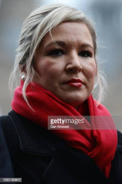 Michelle O'Neill, Sinn Fein's leader in Northern Ireland takes part in a press conference on College Green ahead of a meeting with Britain's Prime...