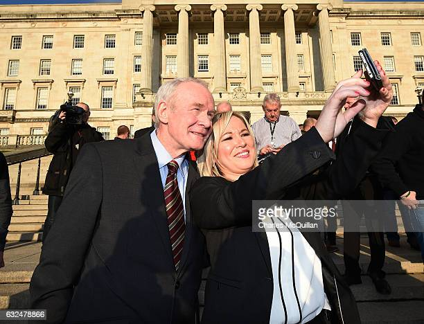 Michelle O'Neill, the new Sinn Fein leader in the north takes a selfie with Martin McGuinness on the steps of Stormont on January 23, 2017 in...