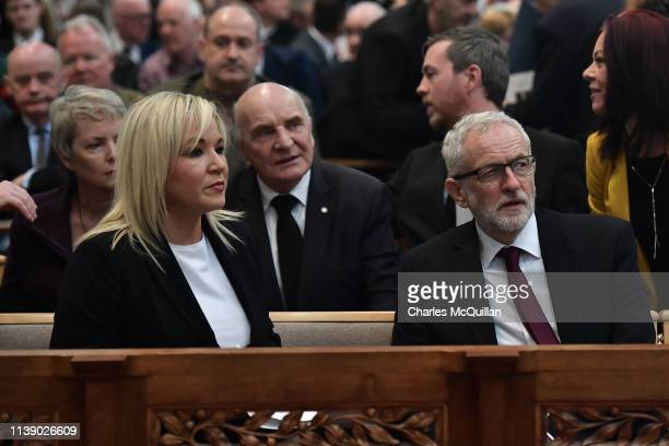 Michelle O'Neill Vice President of Sinn Fein and Leader of the Labour Party Jeremy Corbyn attend the funeral service of journalist Lyra McKee at St...