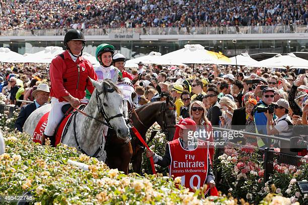 Michelle Payne aboard Prince of Penzance returns to scale after winning race 7 the Emirates Melbourne Cup on Melbourne Cup Day at Flemington...