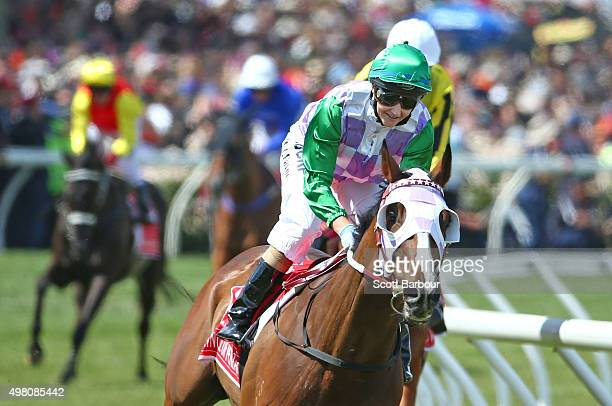 Michelle Payne celebrates after riding Prince Of Penzance to win race 7 the Emirates Melbourne Cup on Melbourne Cup Day at Flemington Racecourse on...