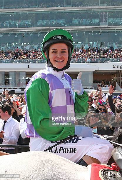 Michelle Payne celebrates after riding Prince Of Penzance won race 7 the Emirates Melbourne Cup on Melbourne Cup Day at Flemington Racecourse on...