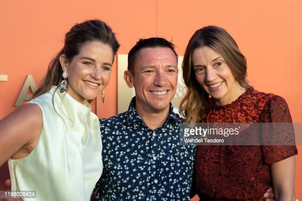 Michelle Payne Frankie Dettori and Catherine Dettori attend the 2020 Magic Millions Launch Party at Surfers Paradise Foreshore on January 07 2020 in...