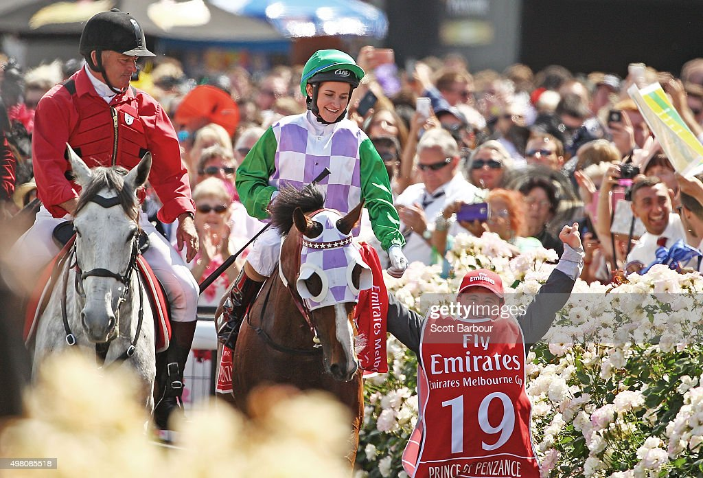 Michelle Payne is congratulated by her brother Steven Payne, who has Down syndrome and works as a strapper after Michelle Payne riding Prince Of Penzance won race 7 the Emirates Melbourne Cup on Melbourne Cup Day at Flemington Racecourse on November 3, 2015 in Melbourne, Australia.