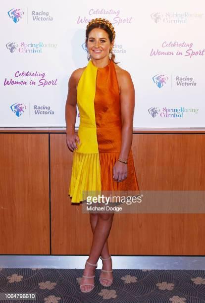 Michelle Payne poses during Oaks Day at Flemington Racecourse on November 08 2018 in Melbourne Australia