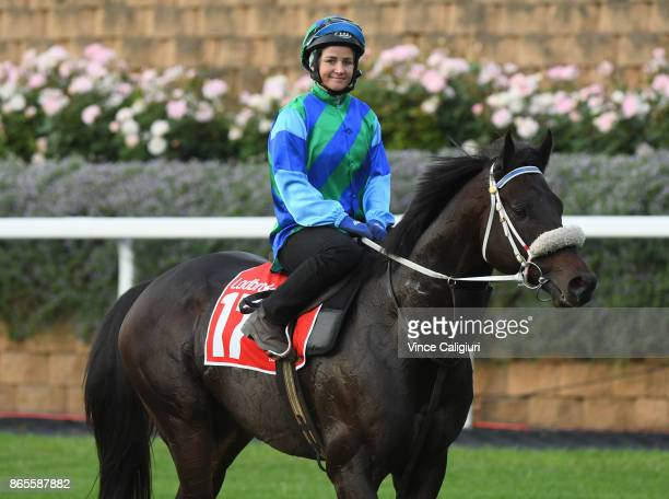Michelle Payne riding Kaspersky after a trackwork session during Breakfast With The Best at Moonee Valley Racecourse on October 24 2017 in Melbourne...
