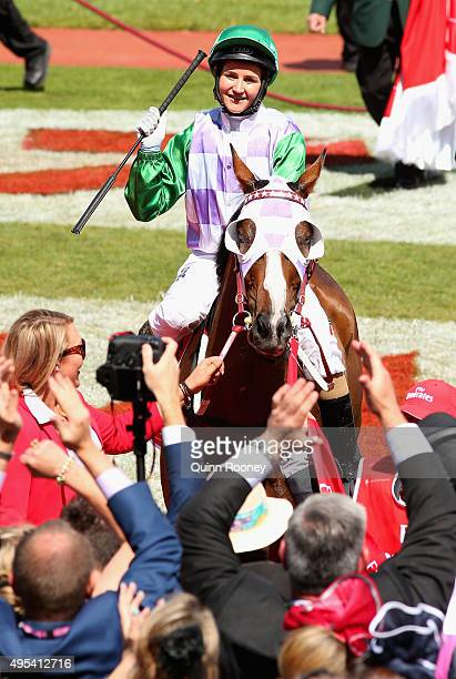 Michelle Payne riding Prince of Penzance celebrates winning race 7 the Emirates melbourne Cup on Melbourne Cup Day at Flemington Racecourse on...
