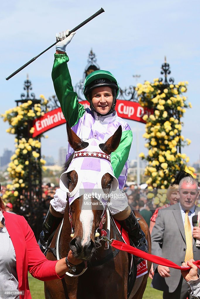 Michelle Payne riding Prince Of Penzance returns to scale after winning race 7 the Emirates Melbourne Cup on Melbourne Cup Day at Flemington Racecourse on November 3, 2015 in Melbourne, Australia.