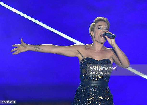 Michelle performs during the open air tv show 'Schlager des Sommers' at Wasserschloss Klaffenbach on June 18 2015 in Chemnitz Germany