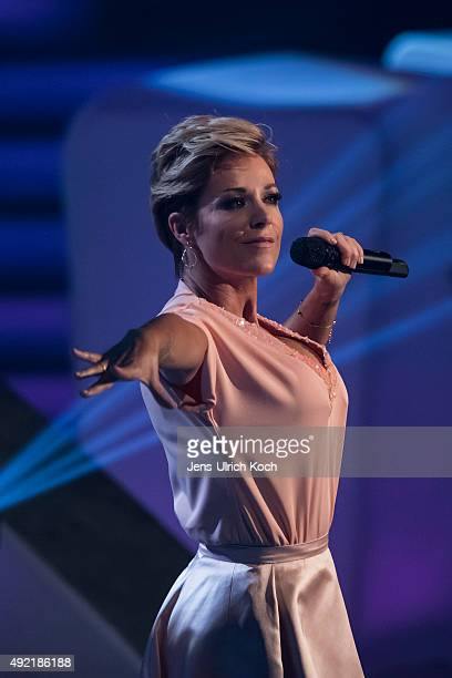 Michelle performs during the tv show '150 Jahre Schlager Das Grosse Fest Zum Jubilaeum' at Messe Erfurt on October 10 2015 in Erfurt Germany