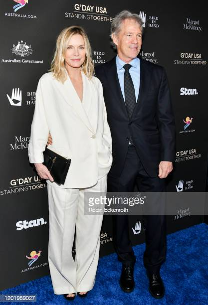 Michelle Pfeiffer and David E Kelley arrive at G'Day USA 2020 | Standing Together Dinner on January 25 2020 in Beverly Hills California