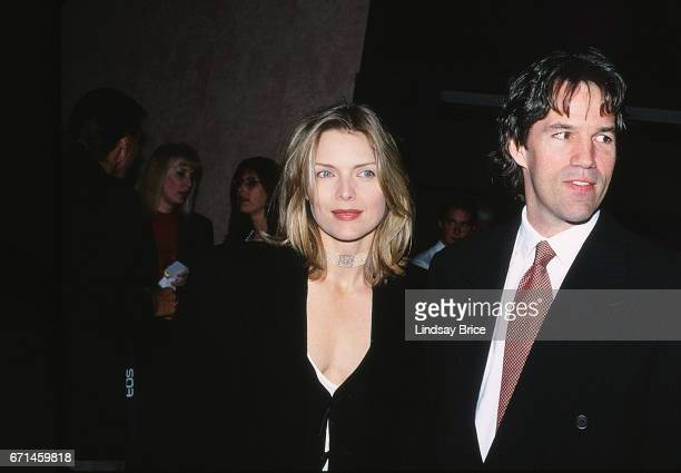 Michelle Pfeiffer and David E Kelley arriving at the Bonaventure Hotel for the ACLU Bill of Rights Dinner honoring David E Kelley on December 8 1994...
