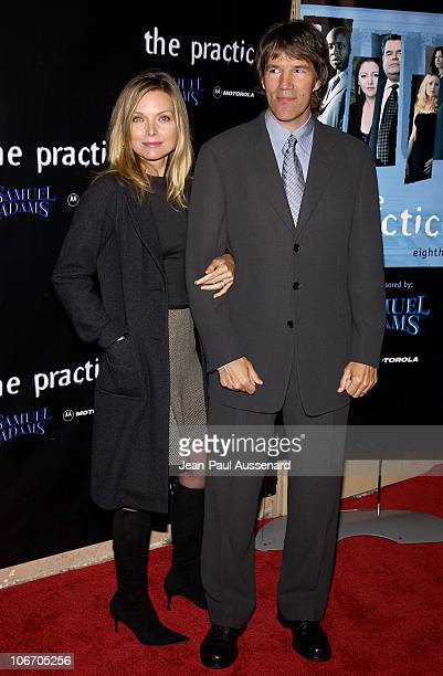 Michelle Pfeiffer and David Kelley during David Kelley and The Cast of ABC's Hit Drama 'The Practice' Celebrate The Launch of Their Eight Season at...