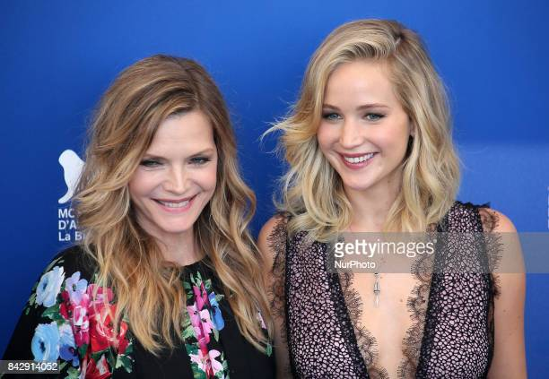 Michelle Pfeiffer and Jennifer Lawrence attend the photocall of the movie 'Mother' presented in competition at the 74th Venice Film Festival in...