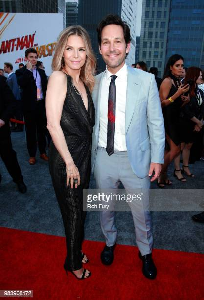 Michelle Pfeiffer and Paul Rudd attend the premiere of Disney And Marvel's AntMan And The Wasp on June 25 2018 in Los Angeles California