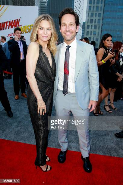 Michelle Pfeiffer and Paul Rudd attend the premiere of Disney And Marvel's 'AntMan And The Wasp' on June 25 2018 in Hollywood California