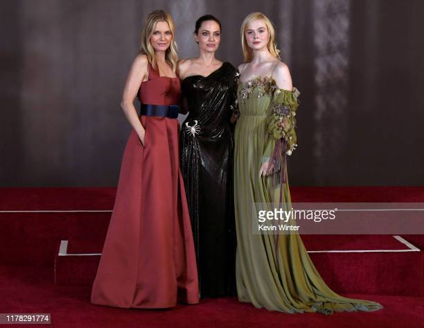 "Michelle Pfeiffer, Angelina Jolie and Elle Fanning arrive at the premiere of Disney's ""Maleficent: Mistress Of Evil"" at the El Capitan Theatre on..."