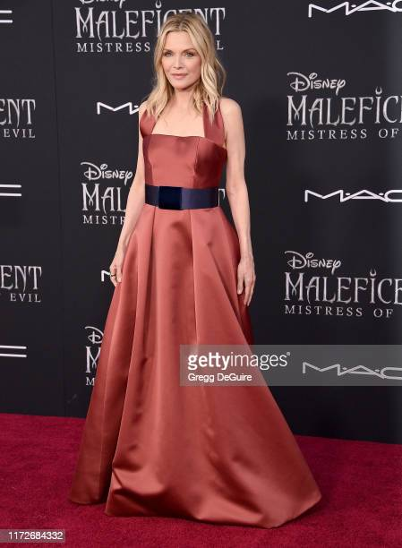 Michelle Pfeiffer arrives at the World Premiere Of Disney's Maleficent Mistress Of Evil at El Capitan Theatre on September 30 2019 in Los Angeles...