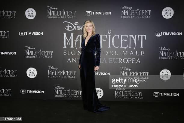 "Michelle Pfeiffer attends the European premiere of the movie ""Maleficent – Mistress Of Evil"" at Auditorium della Conciliazione on October 07, 2019 in..."