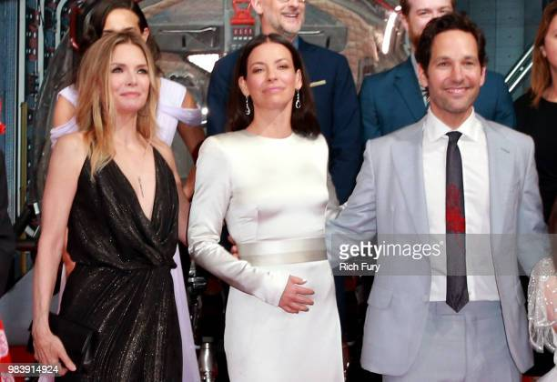 Michelle Pfeiffer Evangeline Lilly and Paul Rudd attend the premiere of Disney And Marvel's 'AntMan And The Wasp' on June 25 2018 in Los Angeles...