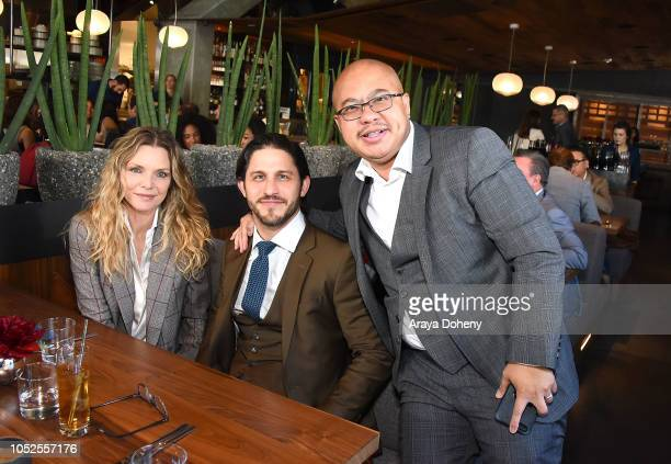 Michelle Pfeiffer Franklin Latt and Takashi Cheng attend Communities In Schools LA Lunch With a Leader on October 19 2018 in West Hollywood California