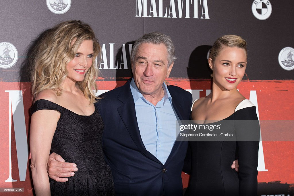 Michelle Pfeiffer, Robert De Niro and Dianna Agron attend the 'Malavita' premiere at Europacorp Cinemas at Aeroville Shopping Center, in Roissy-en-France, France.