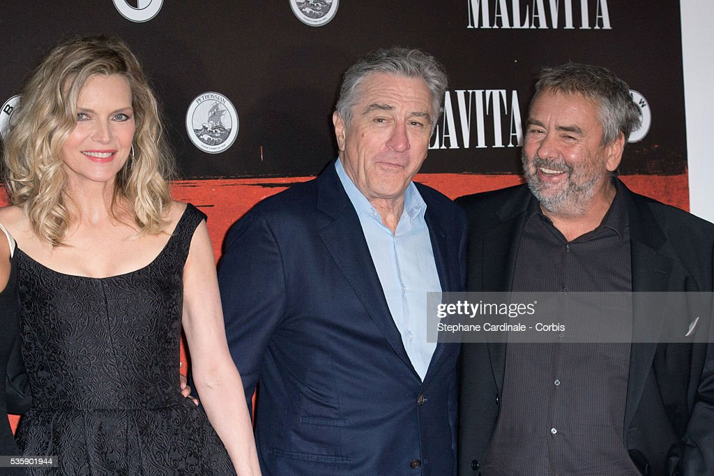 Michelle Pfeiffer, Robert De Niro and Luc Besson attend the 'Malavita' premiere at Europacorp Cinemas at Aeroville Shopping Center, in Roissy-en-France, France.