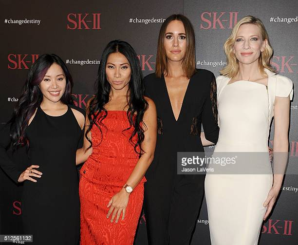 Michelle Phan Anggun Louise Roe and Cate Blanchett attends the SKII #ChangeDestiny forum at Andaz Hotel on February 26 2016 in Los Angeles California