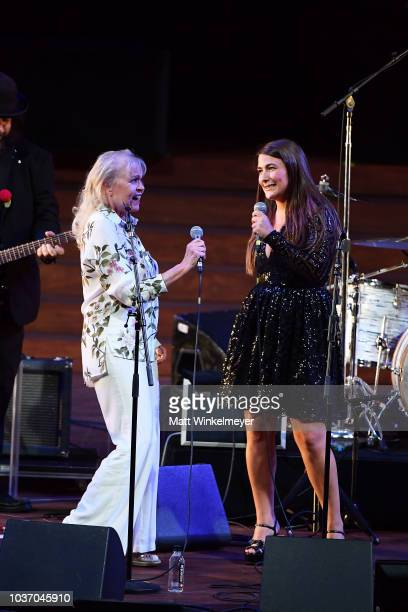 Michelle Phillips and Jade Castrinos perform during the 2018 LA Film Festival opening night premiere of Echo In The Canyon at John Anson Ford...