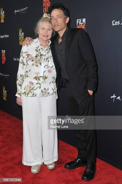 Michelle Phillips and Jakob Dylan arrive at the 2018 LA Film Festival opening night premiere of Echo In The Canyon at John Anson Ford Amphitheatre on...
