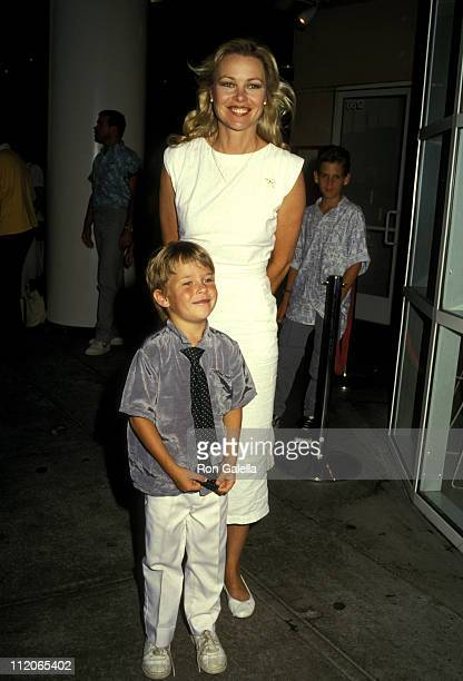 Michelle Phillips and Son Austin Hines during The Monster Squad Los Angeles Premiere Party at The Hard Rock Cafe in Los Angeles California United...