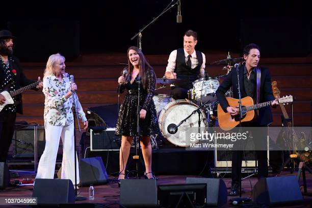Michelle Phillips Jade Castrinos and Jakob Dylan perform during the 2018 LA Film Festival opening night premiere of Echo In The Canyon at John Anson...