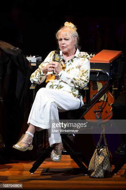 Michelle Phillips speaks onstage during the 2018 LA Film Festival opening night premiere of Echo In The Canyon at John Anson Ford Amphitheatre on...