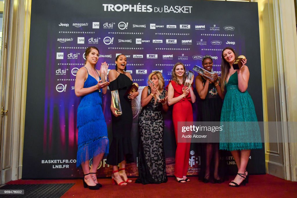 Michelle Plouffe, Nayo Raincock Ekunwe (best french league player), Amel Bouderra, Marine Johannes and Valeriane Ayayi with their Jeep Elite All Star Team (5 Majeur) awards, and Alexia Chartereau (best young french league player, in green) during the Trophy Award LNB Basketball at Salle Gaveau on May 16, 2018 in Paris, France.