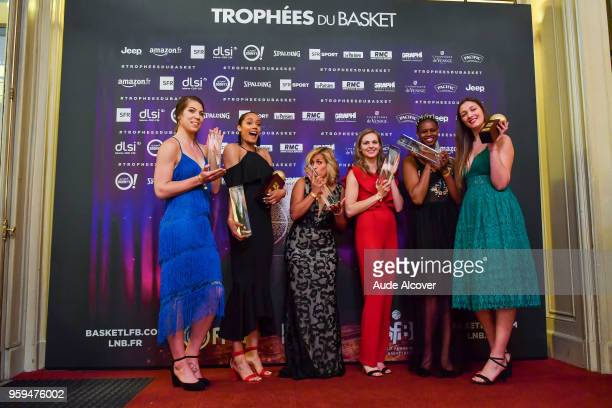 Michelle Plouffe Nayo Raincock Ekunwe Amel Bouderra Marine Johannes and Valeriane Ayayi with their Jeep Elite All Star Team awards and Alexia...