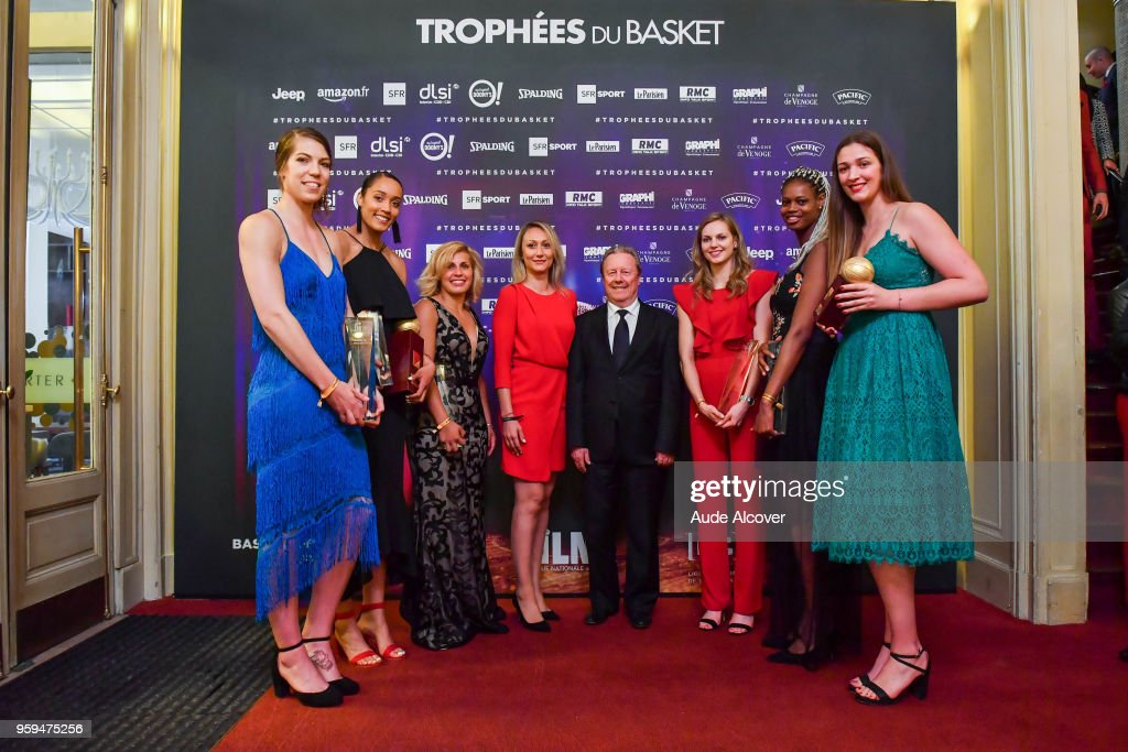 Michelle Plouffe, Nayo Raincock Ekunwe (best french league player), Amel Bouderra, vice president of french basketball federation Philippe Legname, Marine Johannes, Valeriane Ayayi, and Alexia Chartereau (best young french league player, in green) during the Trophy Award LNB Basketball at Salle Gaveau on May 16, 2018 in Paris, France.