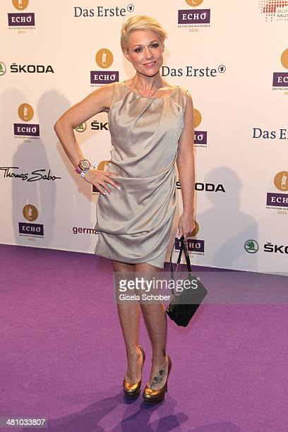 Michelle poses on the red carpet prior the Echo award 2014 at Messe Berlin on March 27 2014 in Berlin Germany