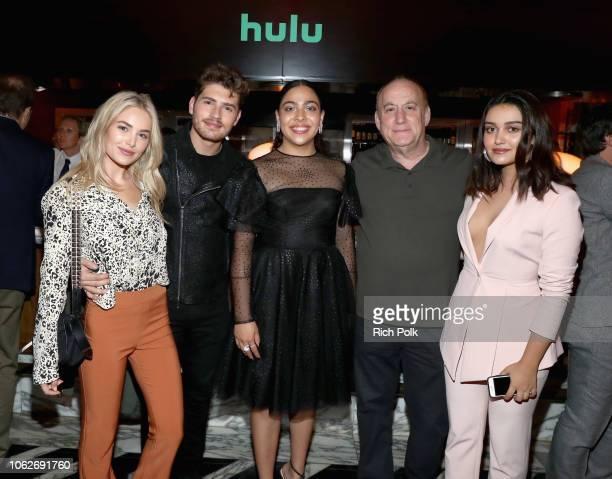 Michelle Randolph Gregg Sulkin Allegra Acosta Jeph Loeb and Ariela Barer attend the 2018 Hulu Holiday Party at Cecconi's Restaurant on November 16...
