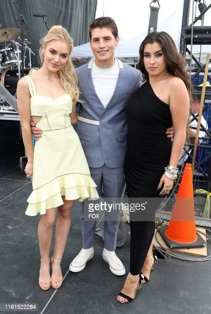 Michelle Randolph Gregg Sulkin and Lauren Jauregui behind the scenes at TEEN CHOICE 2019 airing Sunday August 11 on FOX from Hermosa Beach CA