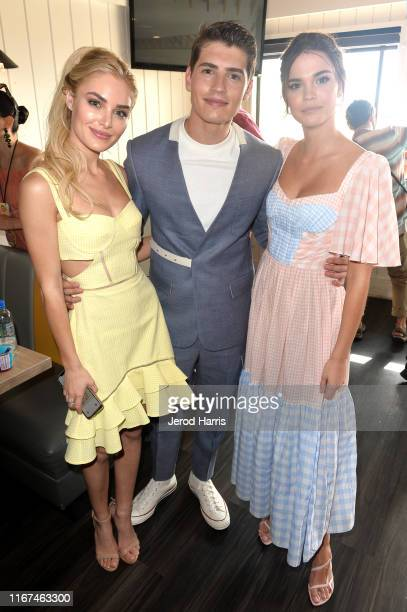 Michelle Randolph Gregg Sulkin and Maia Mitchell attend Cold Stone Creamery Backstage at 2019 Teen Choice Awards on August 11 2019 in Hermosa Beach...