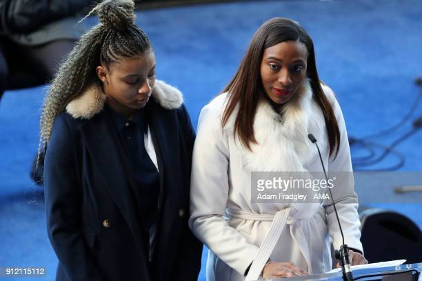 Michelle Regis daughter of Cyrille Regis speaks during the Cyrille Regis Memorial Service at The Hawthorns at The Hawthorns on January 30 2018 in...