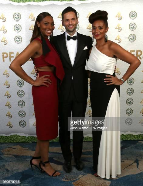 Michelle Regis PFA chairman Ben Purkiss and Julia Regis during the 2018 PFA Awards at the Grosvenor House Hotel London