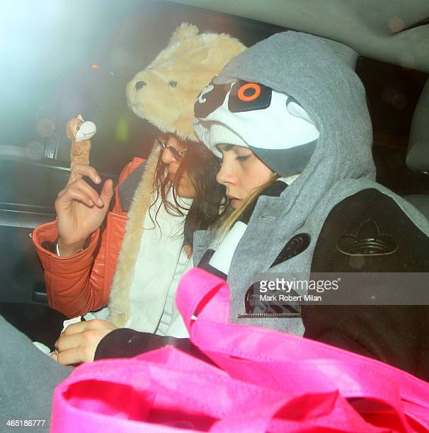 Michelle Rodriguez and Cara Delevingne at The Electric House for Chloe Delevingne's Hen party on January 25 2014 in London England