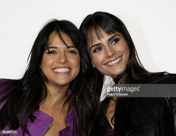 Michelle Rodriguez and Jordana Brewster smile during the Europe premiere of Fast Furious on March 17 2009 in Bochum Germany