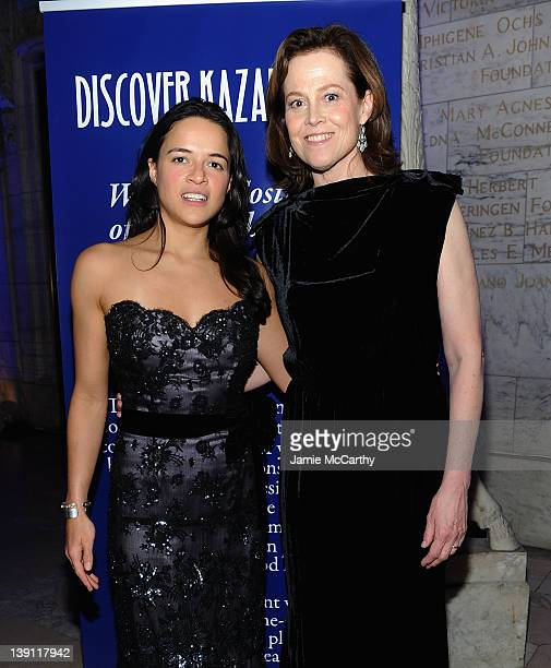 Michelle Rodriguez and Sigourney Weaver attend the 2012 Nomad's Way gala to benefit The Alem Program at The New York Public Library on February 16...
